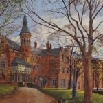 painting of turreted red building