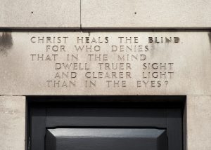 text reads Christ heals the blind for who denies that in the mind dwell truer sight and clearer light than in the eyes?
