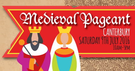 king and queen cartoon advertising the medieval pageant