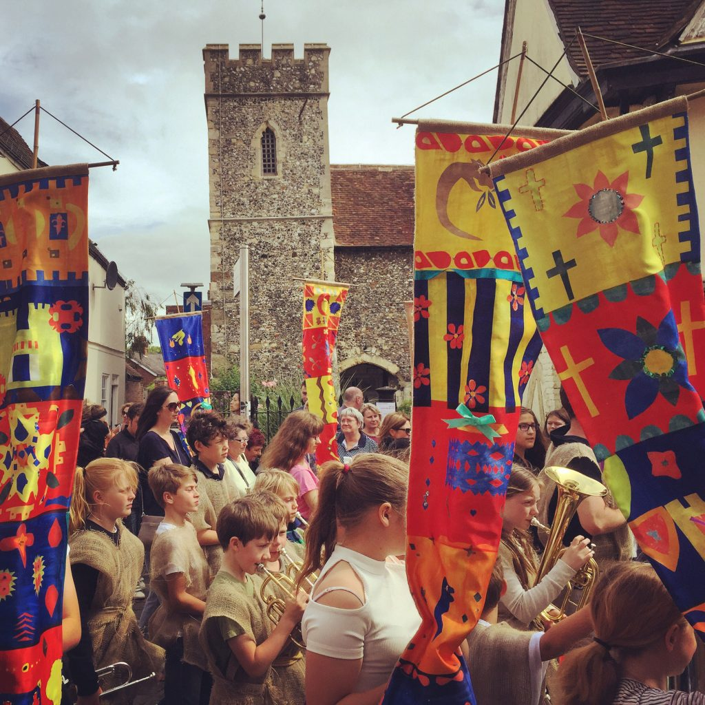 The Medieval parade passes St Peter's Church where we are having a workshop to make a Mazer, 'Pinch Bowl'.