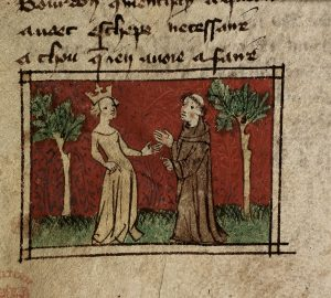 Illustration from manuscript depicting a queen and a monk