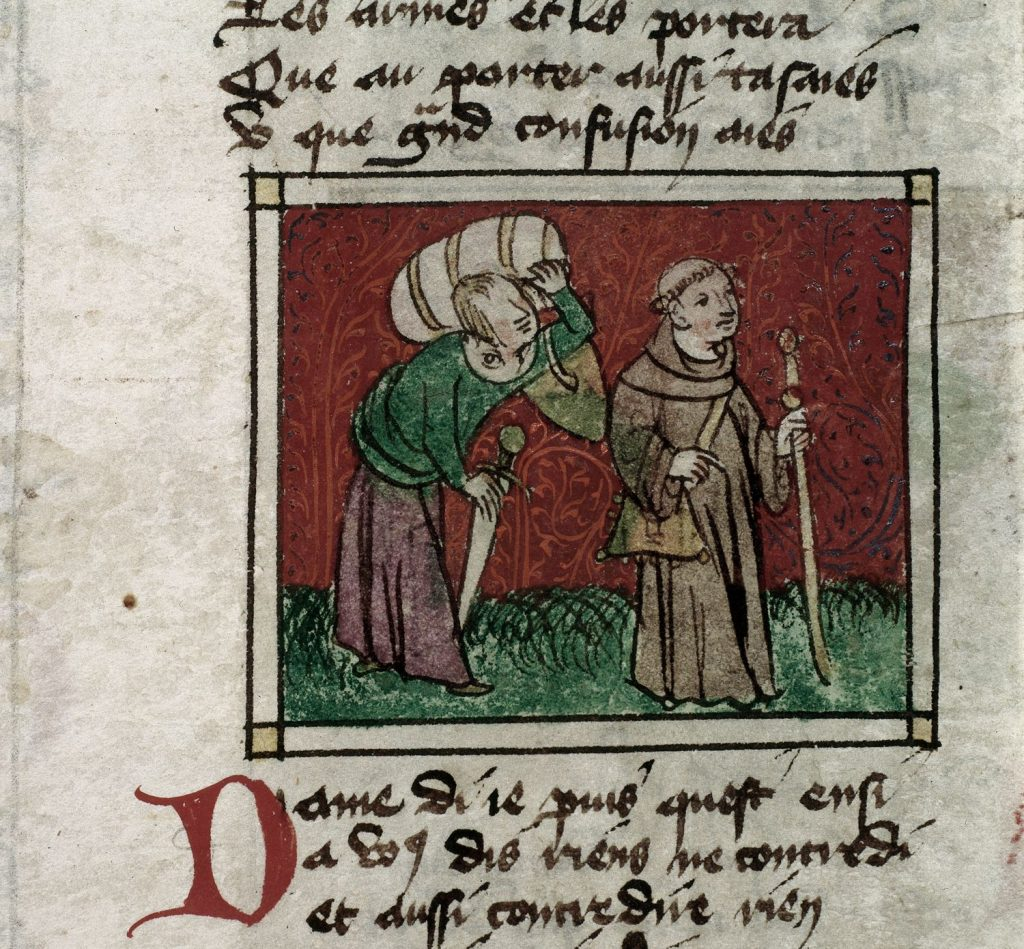 Manuscript image of a monk and his attendant