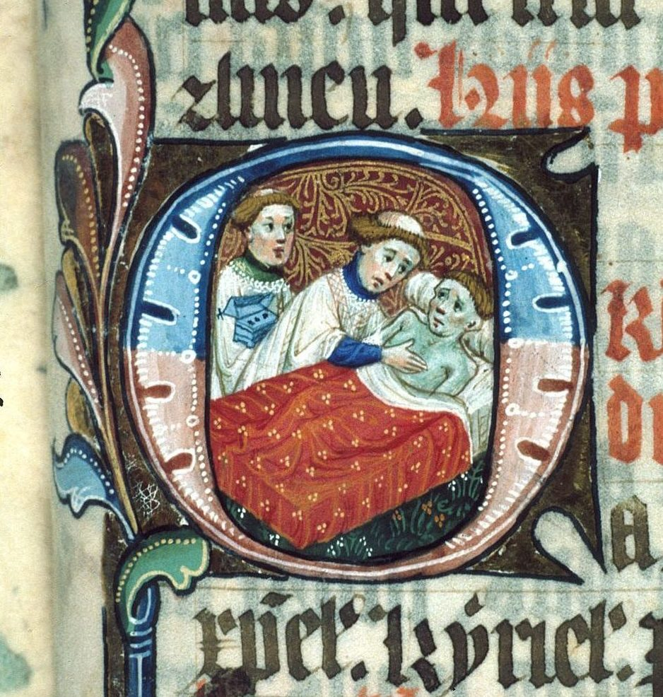 Manuscript detail of a monk and sick man in his bed