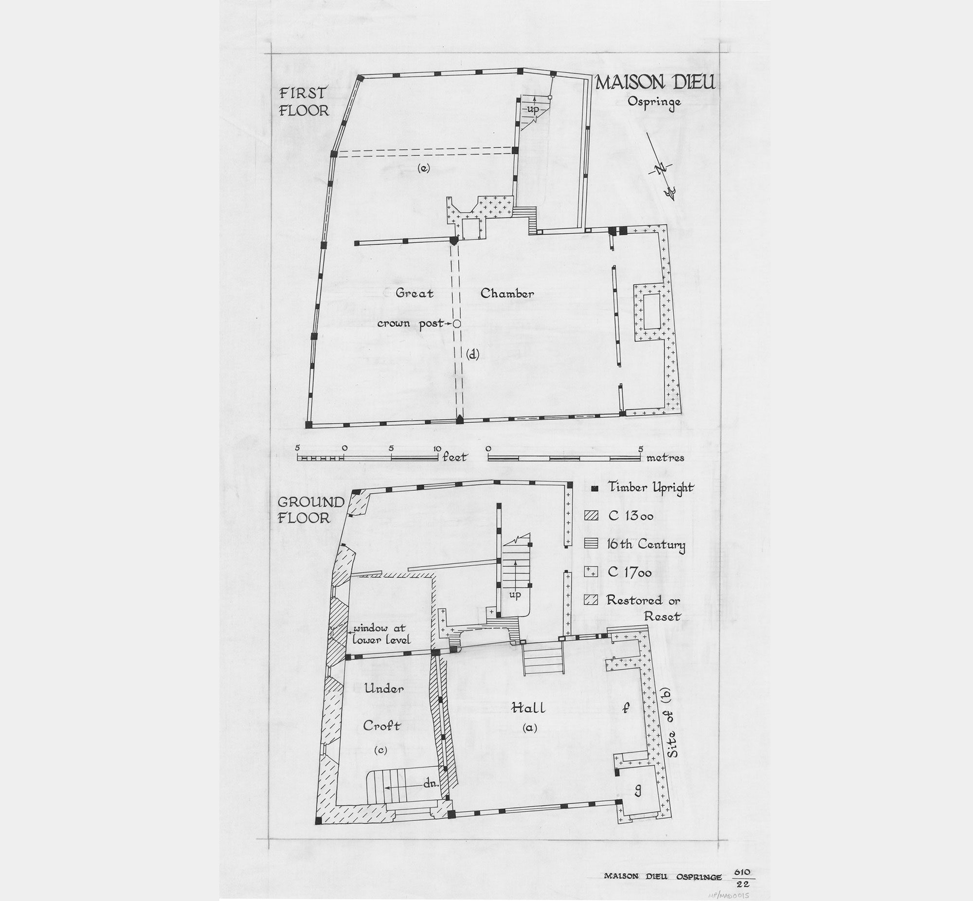 a plan of what remains of the monastery at maison dieu