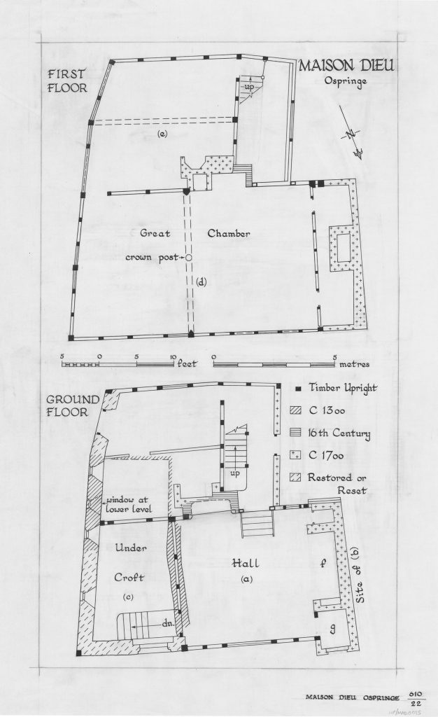 Image shows architect's plan of maison dieu