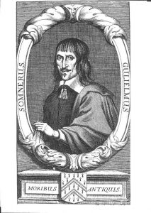 Drawing shows William Somner wearing a cloak and surrounded by his name in Latin