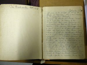 the first page of the diary written in blue ink