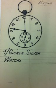 An ink drawing of a pocket watch with a smaller secondary dial in the face. Underneath it reads Guinea Silver Watch
