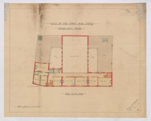 Floor plan showing large ground floor hall dominating the building space.