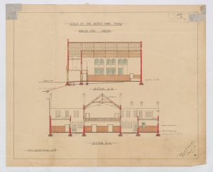 Architects drawings showing arched windows and a balcony on two sketches