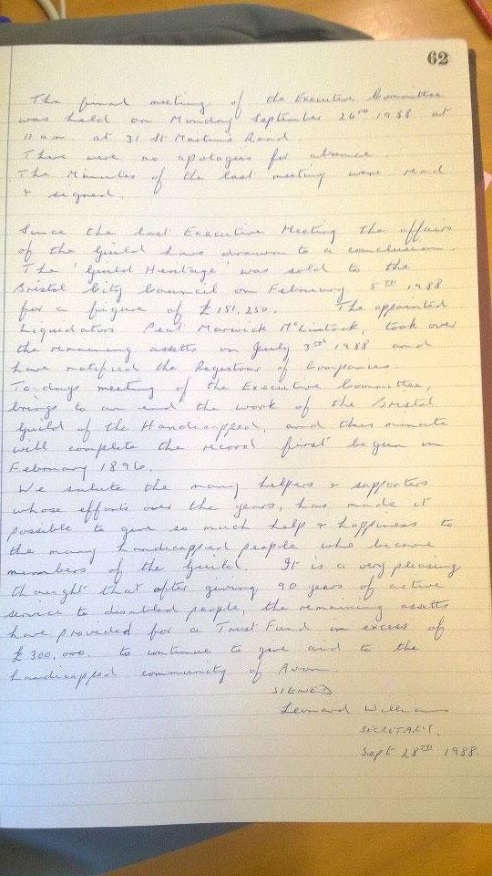 Final letter written by Leonard Williams on behalf of the Guild.