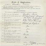 An application form for the blind school filled in in black looping handwriting in 1918