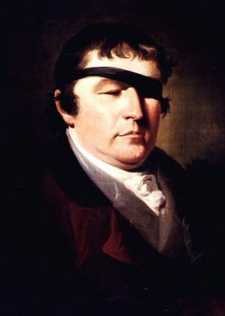 Painting shows man with black band tied over one eye.
