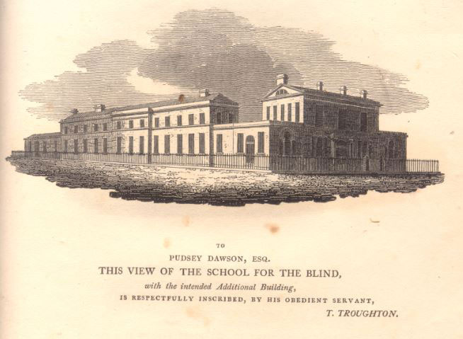 Drawing of the extension of the school for the blind surrounded by railings. The building forms a long L shape with around thirty windows.