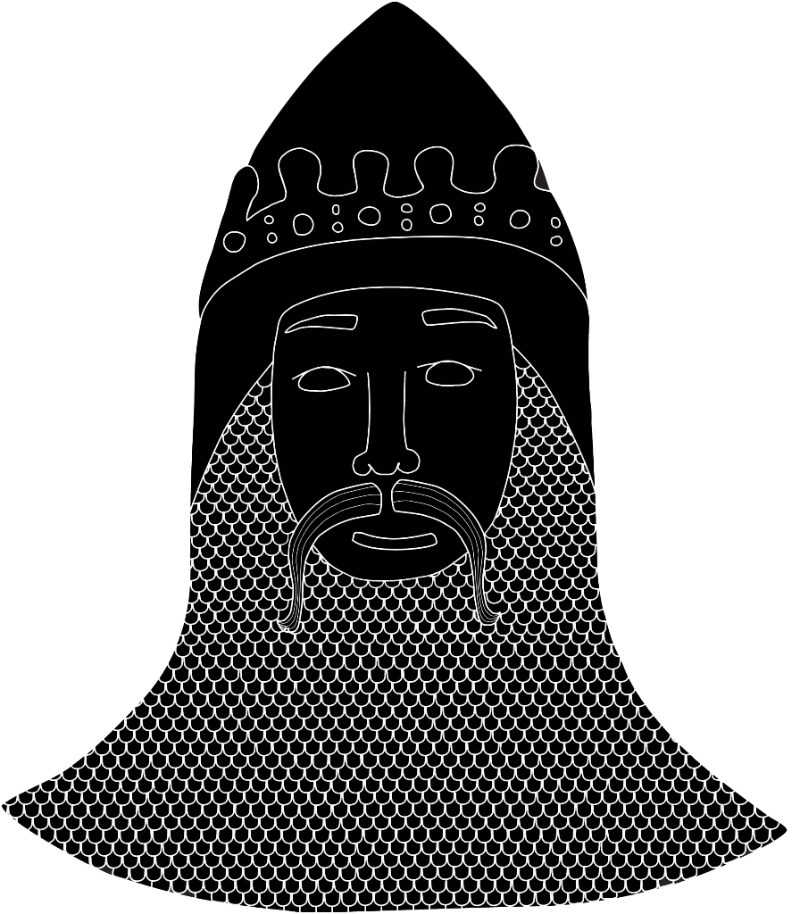 image shows white on black drawing of medieval soldier with moustache, chain mail and a crown