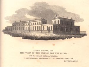 Drawing of imposing neoclassical building