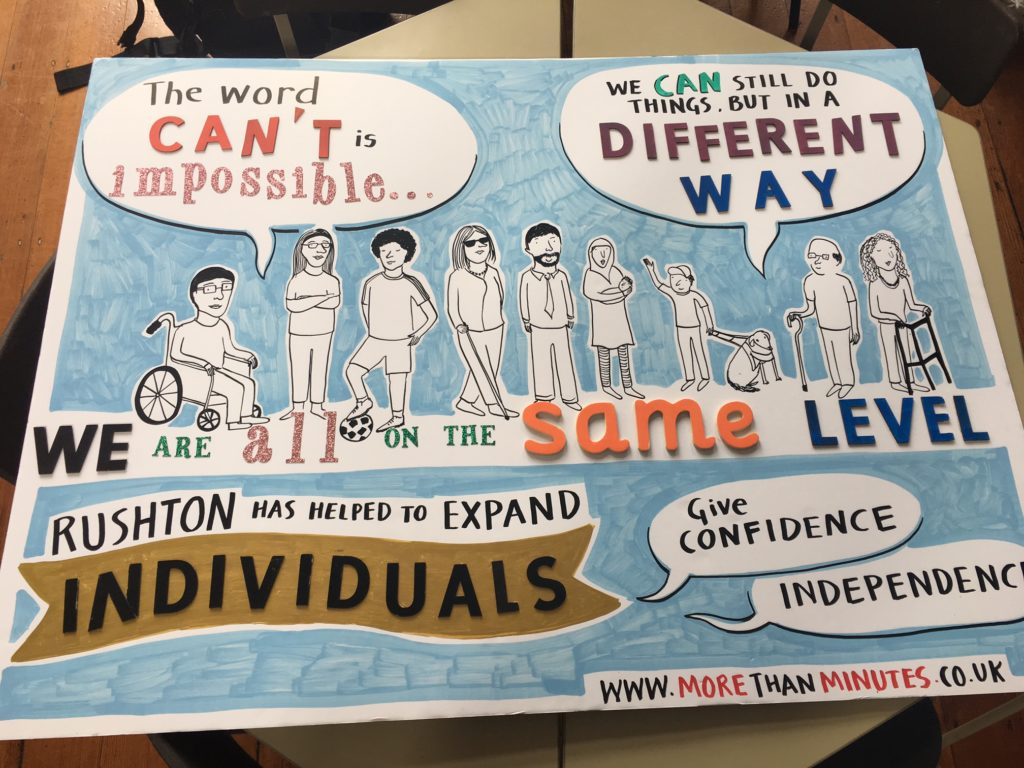 A copy of the visual minutes that says 'we are all on the same level'