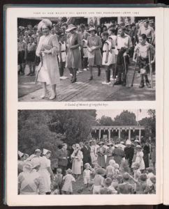 Picture shows Elizabeth Bowes Lyon in a hat surrounded by ladies in waiting visiting disabled people