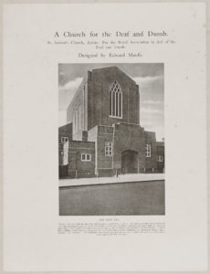 black and white photo of 1920s new build church front
