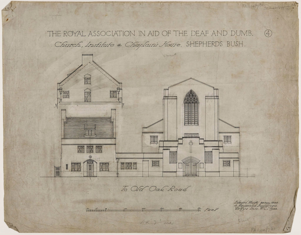 pencil architectural drawing of the front of the church