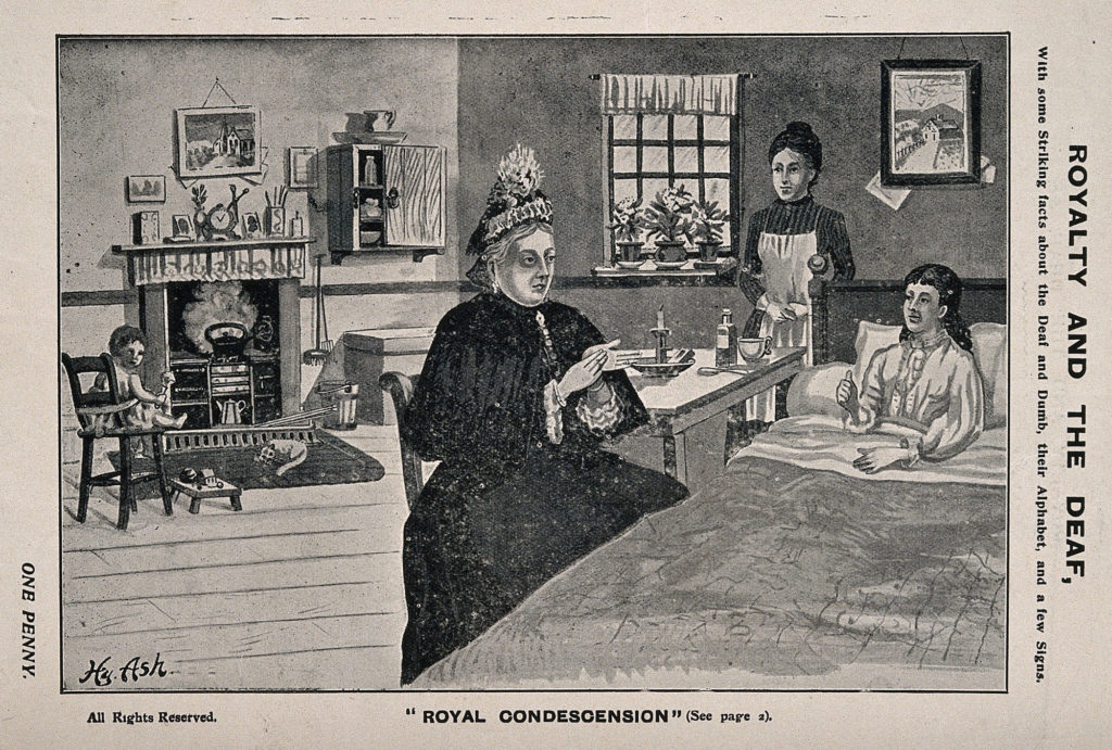 Drawing shows Queen Victoria signing with a woman who sits in bed, with a maid or nurse behind her.