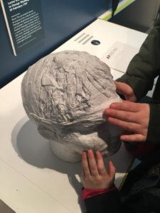 The image shows two sets of children's hands exploring the life sized bust of Edward Rushton