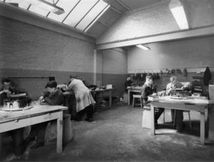 boys in a workshop at the school.