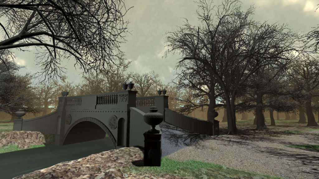 Still of a digitally designed bridge with ornate decoration