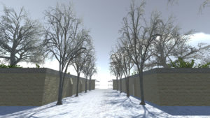Digital game still, some trees and snow on the way to park gates