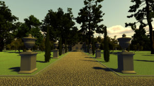 digital game still with ornate trees and gravel path flanked by low decorative columns