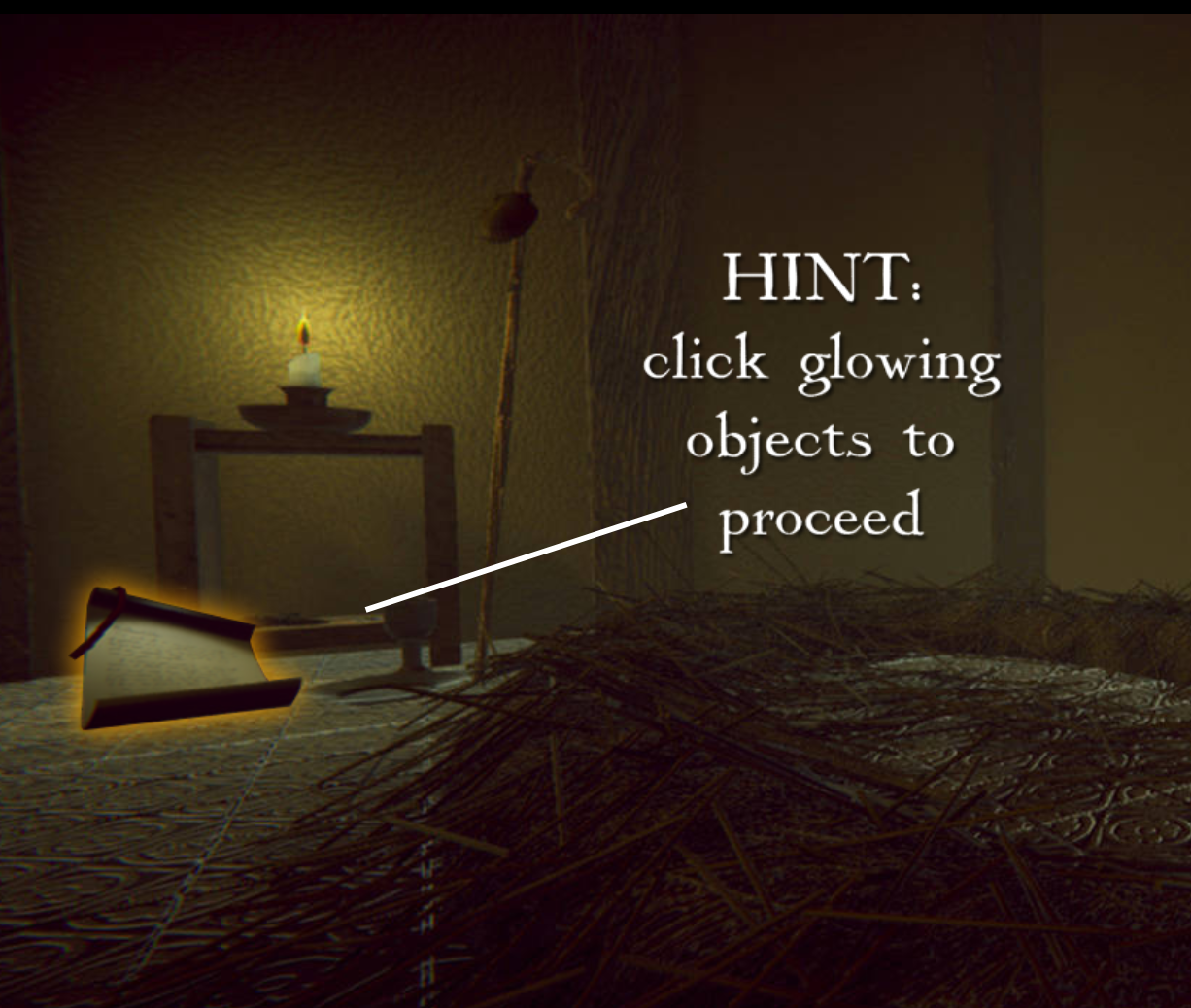 Image of a room with a straw bed on the floor in 1236, as digital recreation. Caption says hint click glowing objects to proceed