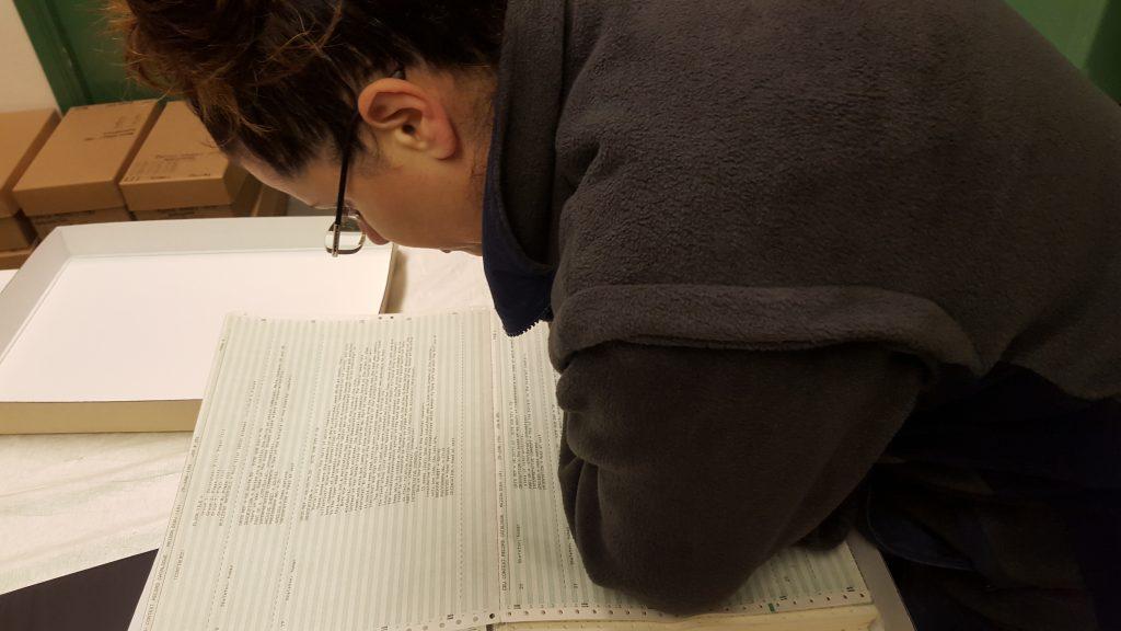 Jo Gray pouring over Maison Dieu Context Record Catalogue