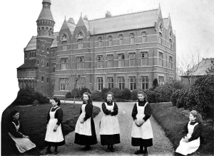 Children in pinafores outside the Royal School for the deaf in Margate