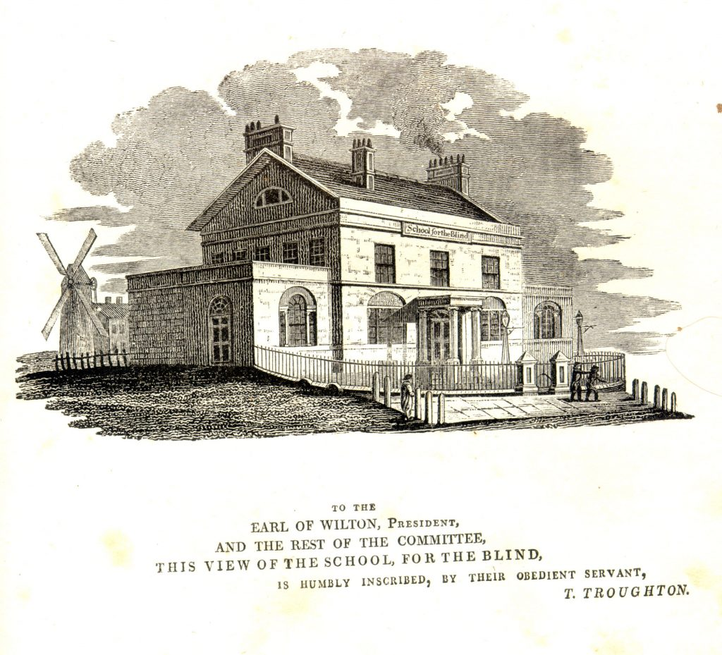 Line drawing of the School for the Blind dedicated to the Earlof Wilton
