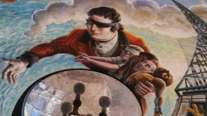 Mural by Mick Jones shows a symbolic painting of Edward Rushton, one eye covered with a scarf to represent his blindness, and with his arm around four other figures, who are also blind.