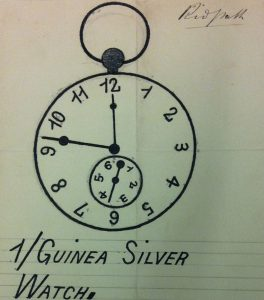 Watch drawing with smaller secondary dial in the face.