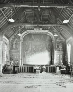 Black and white image of the Victorian theatre showing elaborate wooden rafters