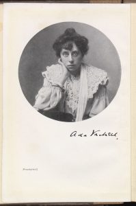 Posed photograph of Edwardian woman in lacy blouse