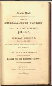 Pamphlet for music concert in 1819.