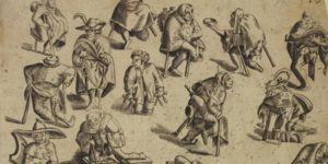 image shows drawing from eighteenth or 19th century of people with crutches