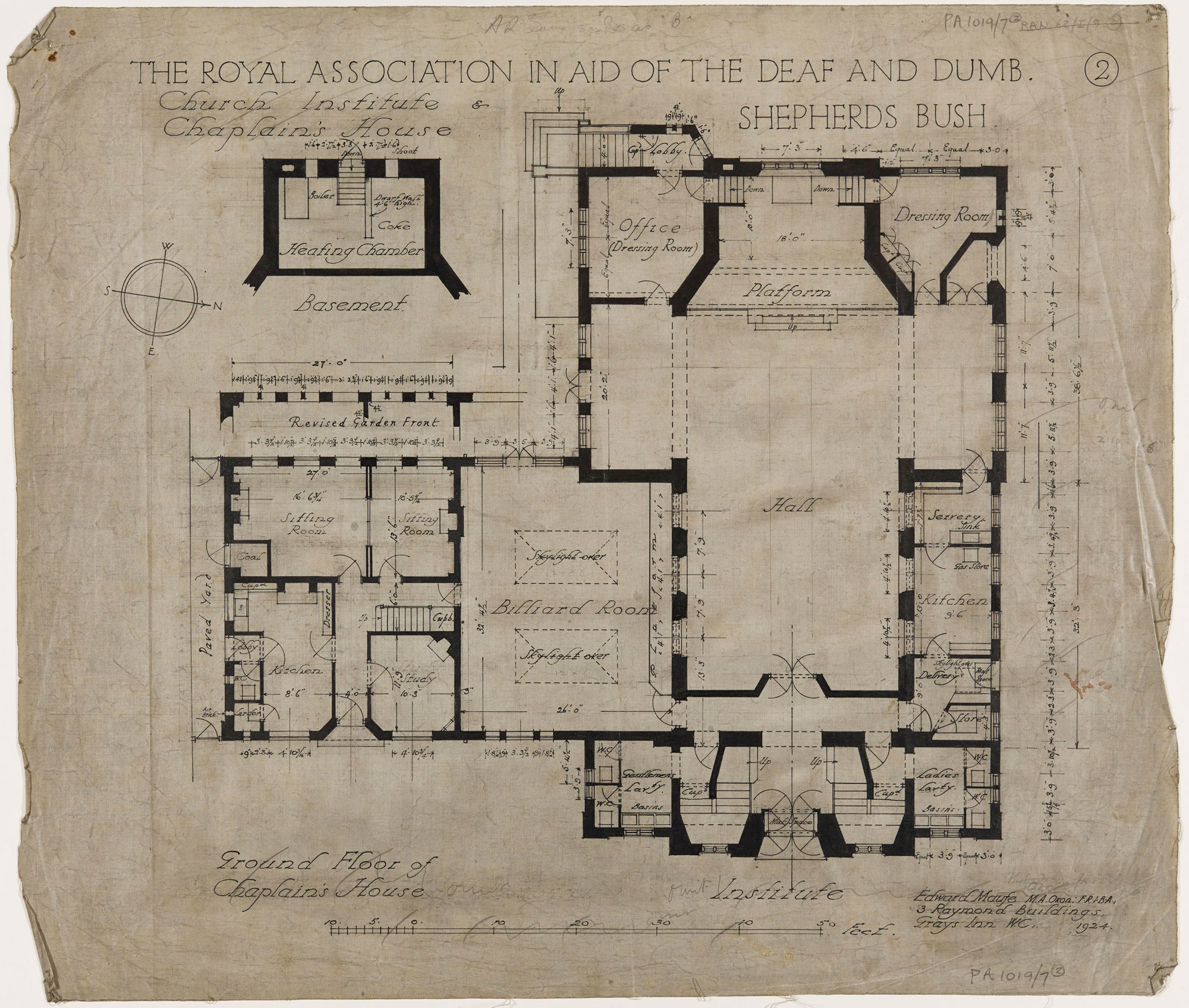 Architectural drawing of the floor plan of the church