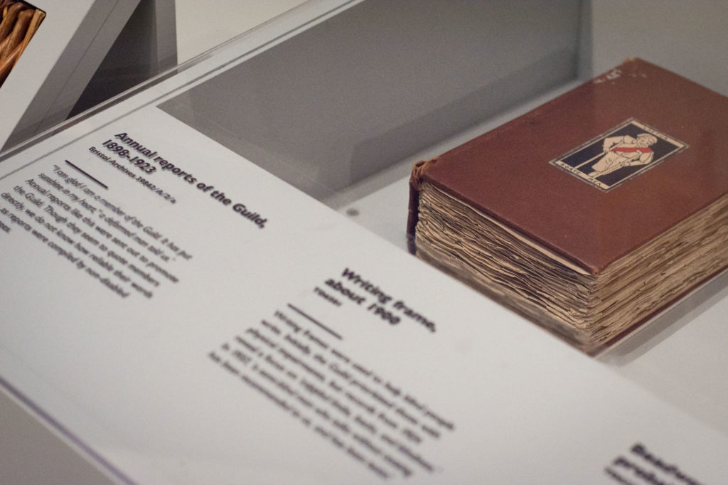 Guild book in our exhibition in glass case