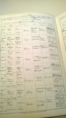image shows lists of baptisms written in ink