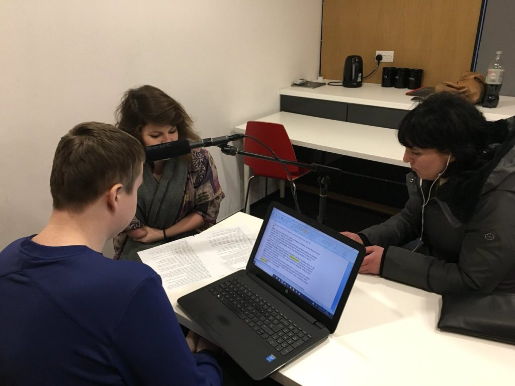Three people record the audio description for our museum of liverpool exhbition