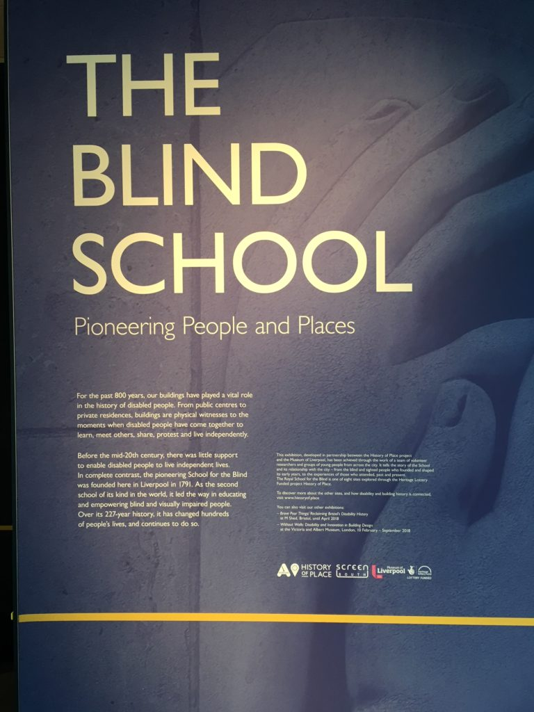 The introduction panel is white writing over an image of the raised reliefs showing hands reading Braille. It serves as the introduction to the exhibition.