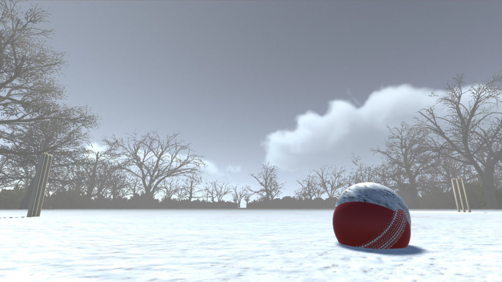Digital game still, a cricket ball in the foreground of a snowy landscape