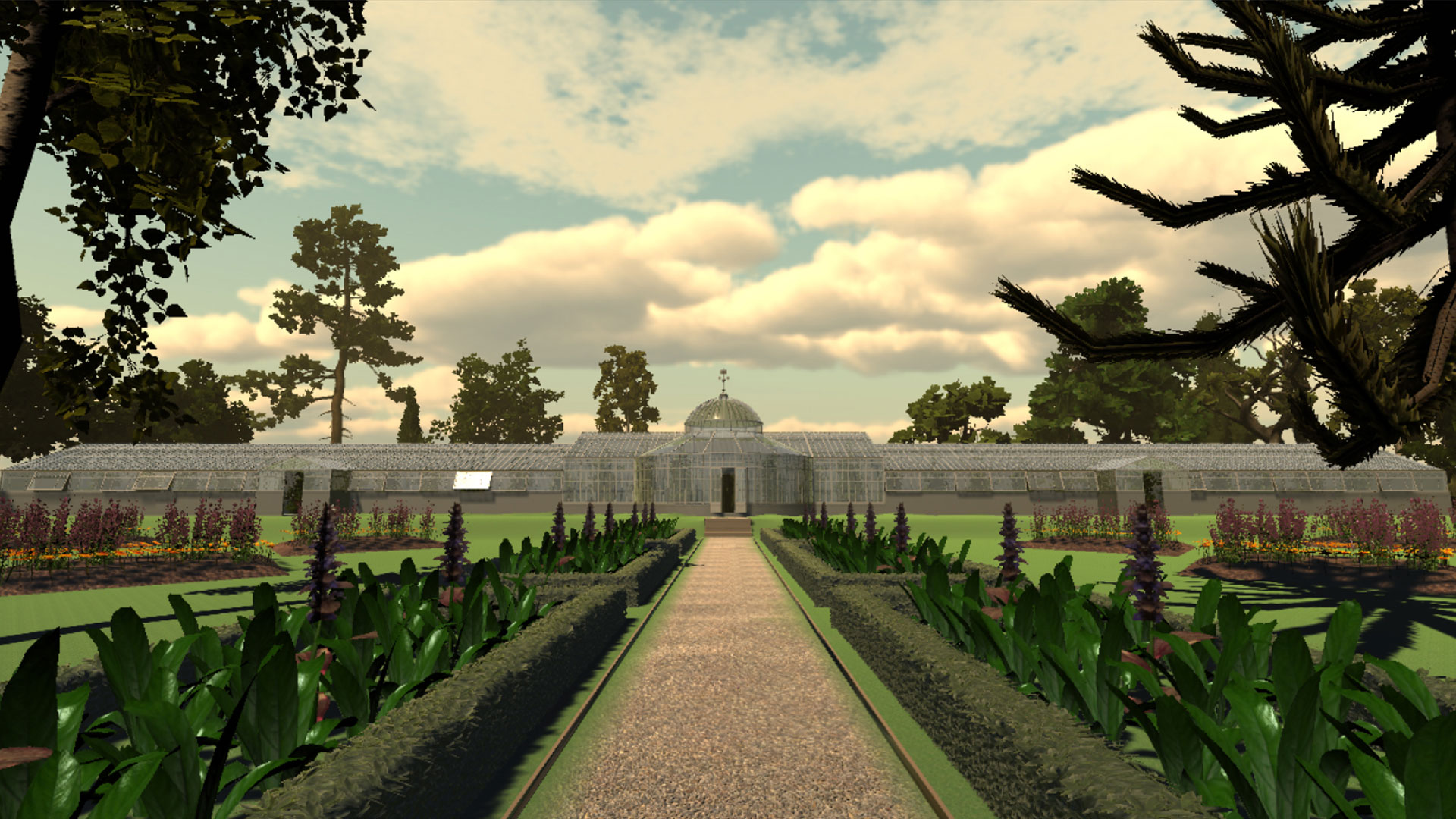 Image shows animation of long walkway surrounded by trees, with a greenhouse at the end.